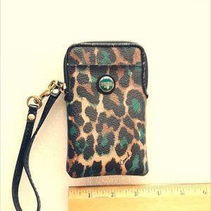 Coach leopard print wristlet phone case/wallet